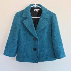 CAbi Teal Boucle Two Button Blazer Style 186